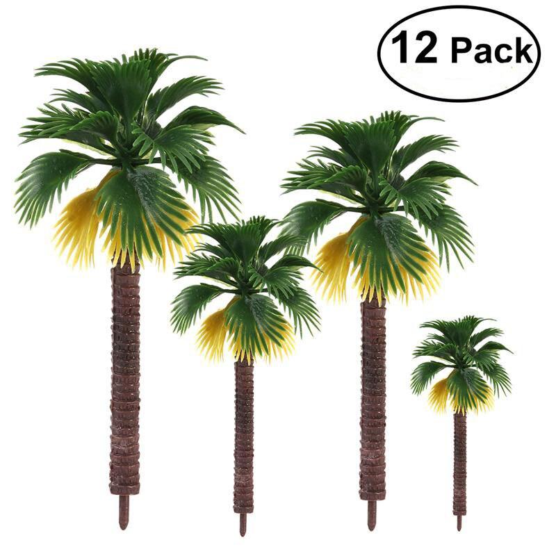 12 pz Layout di Alta Qualità Foresta Pluviale di Plastica Foglie di Palma Diorama Scenario Casa Della Decorazione Del Partito del Regalo Del Giocattolo