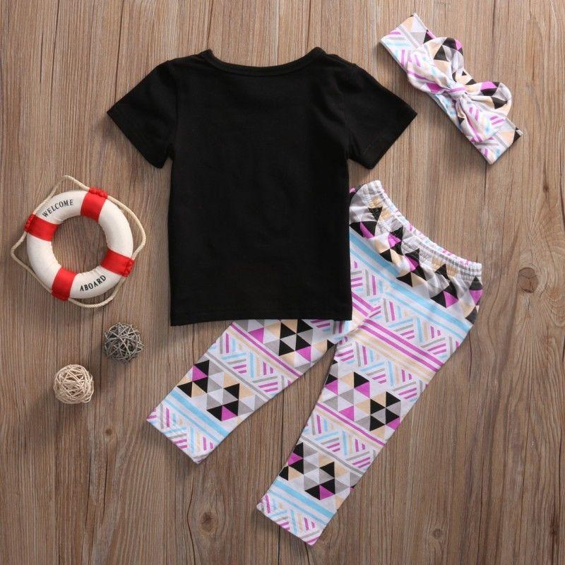 3pcs Toddler Kid Baby Girl T-shirt Tops+Pants+Headband Outfit Clothes Summer Set
