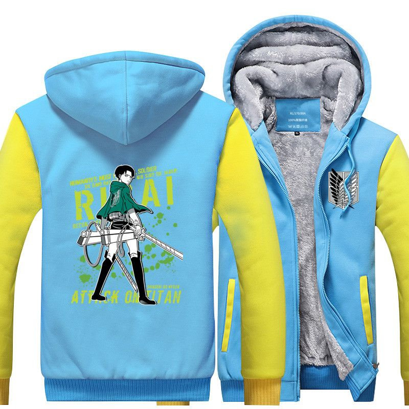 Winter Attack on Titan Luminous Thick Zipper Hoodie Shingeki no Kyojin Hooded Sweatshirt Plus size Hip Hop Streetwear coat 06270
