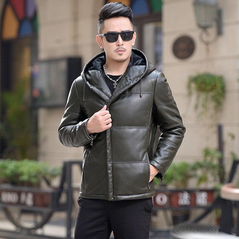 Hiver canard doudoune en cuir vestes hommes vêtements 2019 moto Biker manteaux Faux peau de mouton manteau Chaqueta Cuero Hombre T1085