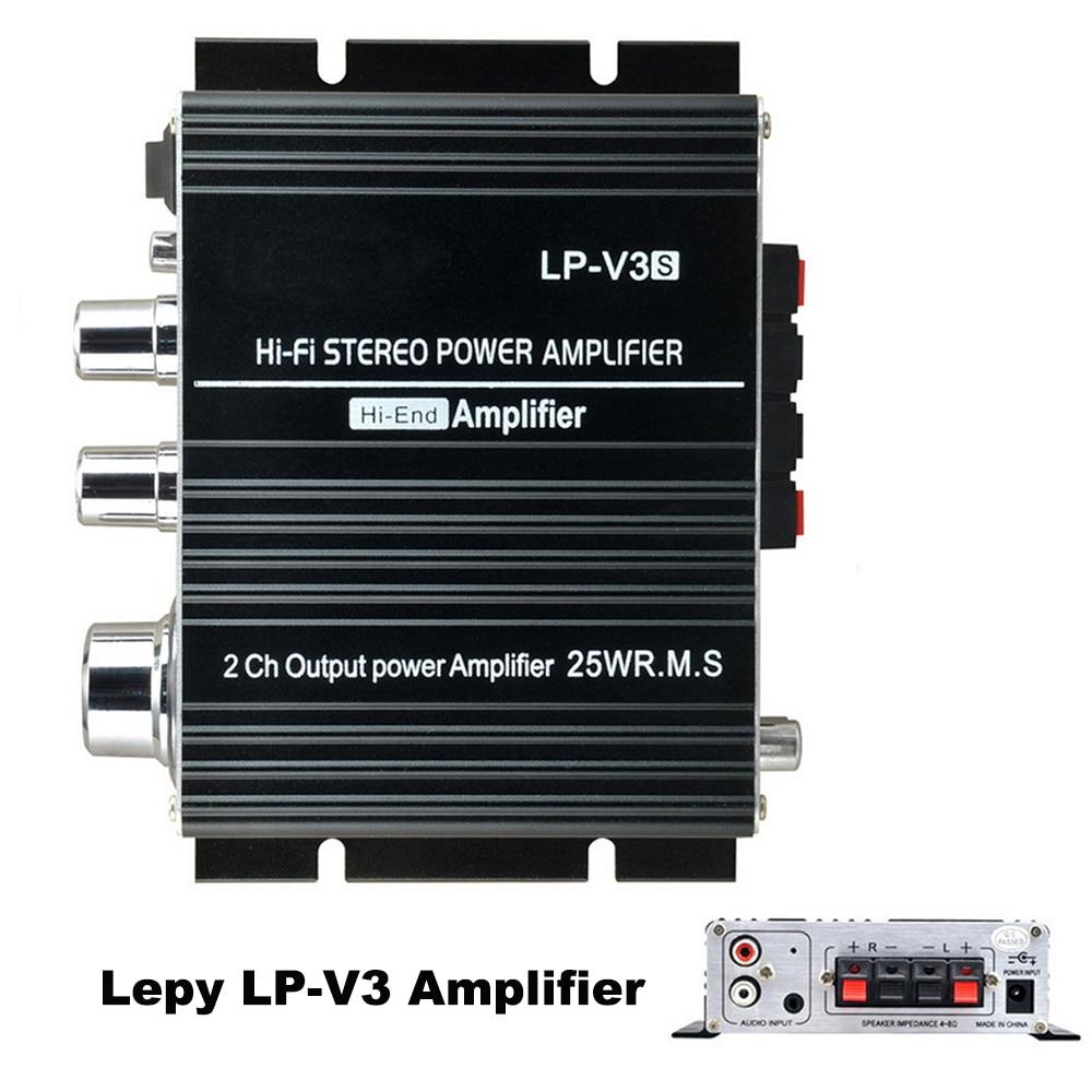 Volume Control 12V Mini Stereo Connection Digital MP3 3.5mm Car Audio Speaker Black Songs Track Hi-Fi LP-V3 Amplifier 700W Power
