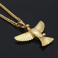 ميدالية ذهبية النسر قلادة قلادة بيان الفولاذ هوب قلادة الذكور ميدالية قلادة النسر الطائر قلادة فضية اللون