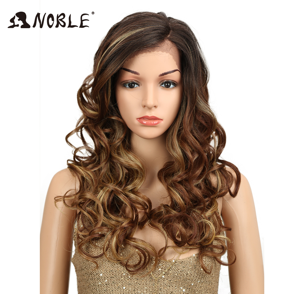 Noble Synthetic Hair Long Ombre Wig Mix 3 Colors Side Part Space 22 Heat Resistant Bouncy Curly Lace Front Wigs For Women Pruik