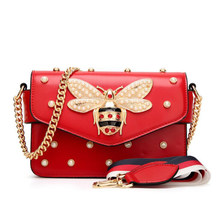 New famous brand women messenger bags black small chain crossbody bags female luxury Red White shoulder bag pearl handbag(China)