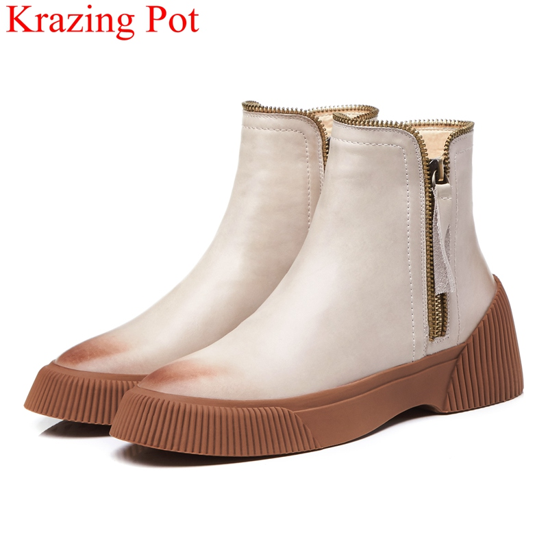 2018 new superstar zipper genuine leather platform solid women ankle boots classics round toe keep warm