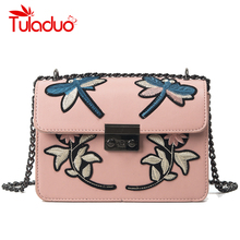 Women Crossbody Bags Embroidery Ladies PU Leather Shoulder Bags Female Famous Brand Designer Handbags Flower Flap