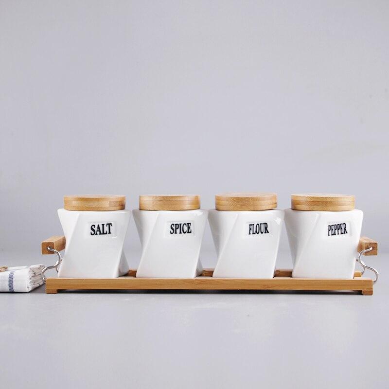 Kitchen Storage supplies Bamboo&wood ceramic seasoning jar 4piece set + handle tray sealed tank sauce bottle seasoning box set