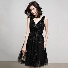 Bling Sexy V-neck Evening Dress Black Sequins Graduation Gown For Women Sleeveless Homecoming Party Dresses Vestido Preto