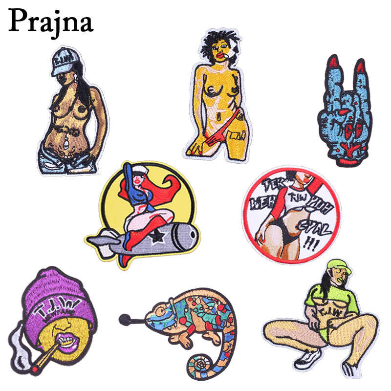 Prajña Bombing Meisje Rock Parches Iron Patches Voor Kleding Hiphop Borduurwerk Patch Chameleon Badge Naaien Kleding Stickers E