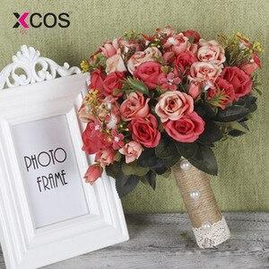 Image 4 - XCOS חדש סגול לבן חתונה זר בעבודת יד מלאכותי פרח רוז buque casamento כלה זר לחתונה קישוט