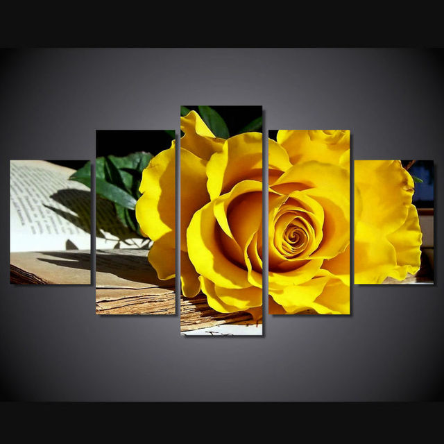 Painting by nuumbers 5 piece new Beautiful yellow roses oil painting ...