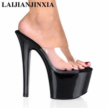 LAIJIANJINXIA Fashion Comfortable Black 7 Inch Stiletto With Platform Shoes Clear Stripper Shoes Sexy 17CM High-Heeled Shoes Red