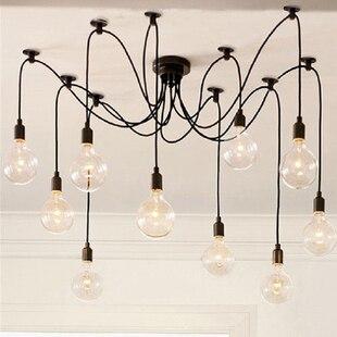 Luxury Vintage Antique Pendant Lamp light 10 bulbs series 1 Europe Style For Loft Bar Coffee Restaurant Parlour E27