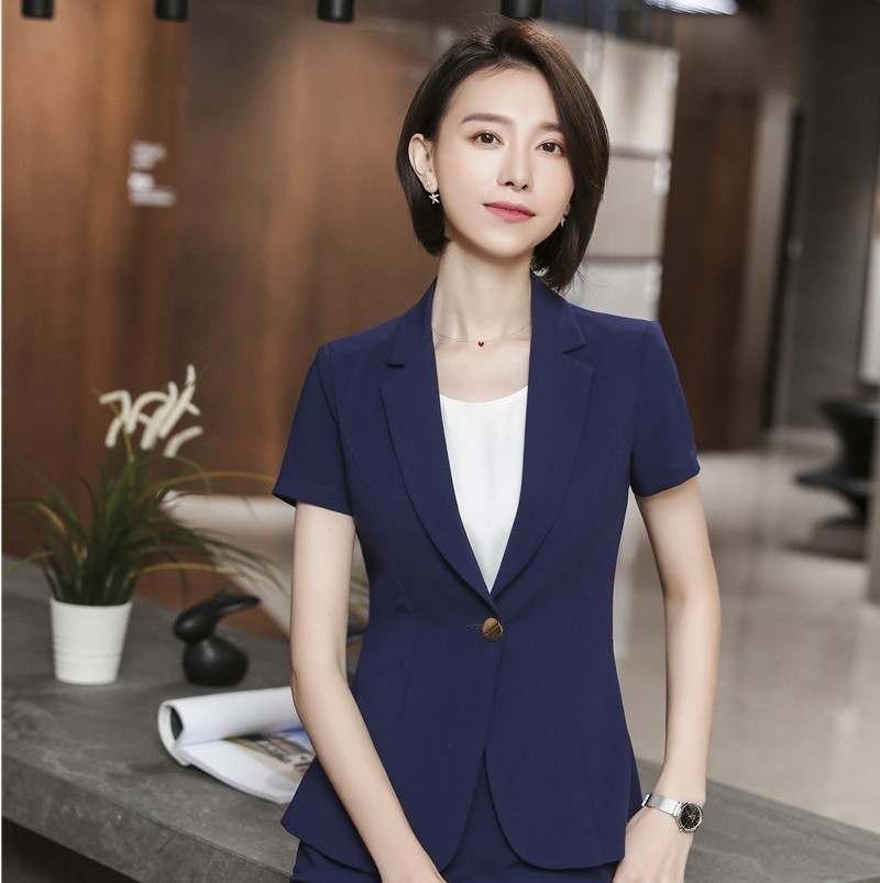 Novelty Apricot Summer Short Sleeve Formal Blazers and Jackets Coat for Women Business Work Wear Female Outwear Tops Blaser