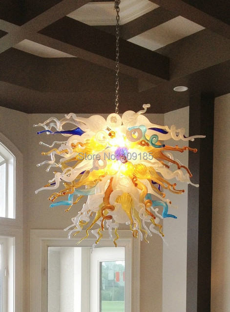 Hot Sale Fancy Dining Room Decor Art Store Blown Glass LED Chandelier Lighting Chain Chandeliers