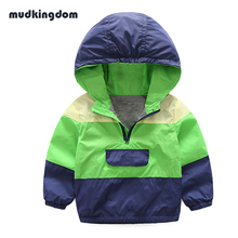 Mudkingdom Boys Hooded Coats Kids Clothes Cool Spring Autumn Jacket Kids Outwear Candy Color Patchwork Clothes