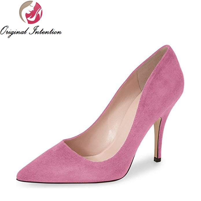 Original Intention Classic Women Pumps Pointed Toe Thin Heels Nice Black Brown Dark Red Pink Taupe Shoes Woman Plus US Size 4-15 original intention fashion women pumps platform round toe thin heels pumps black blue purple red shoes woman plus us size 4 15