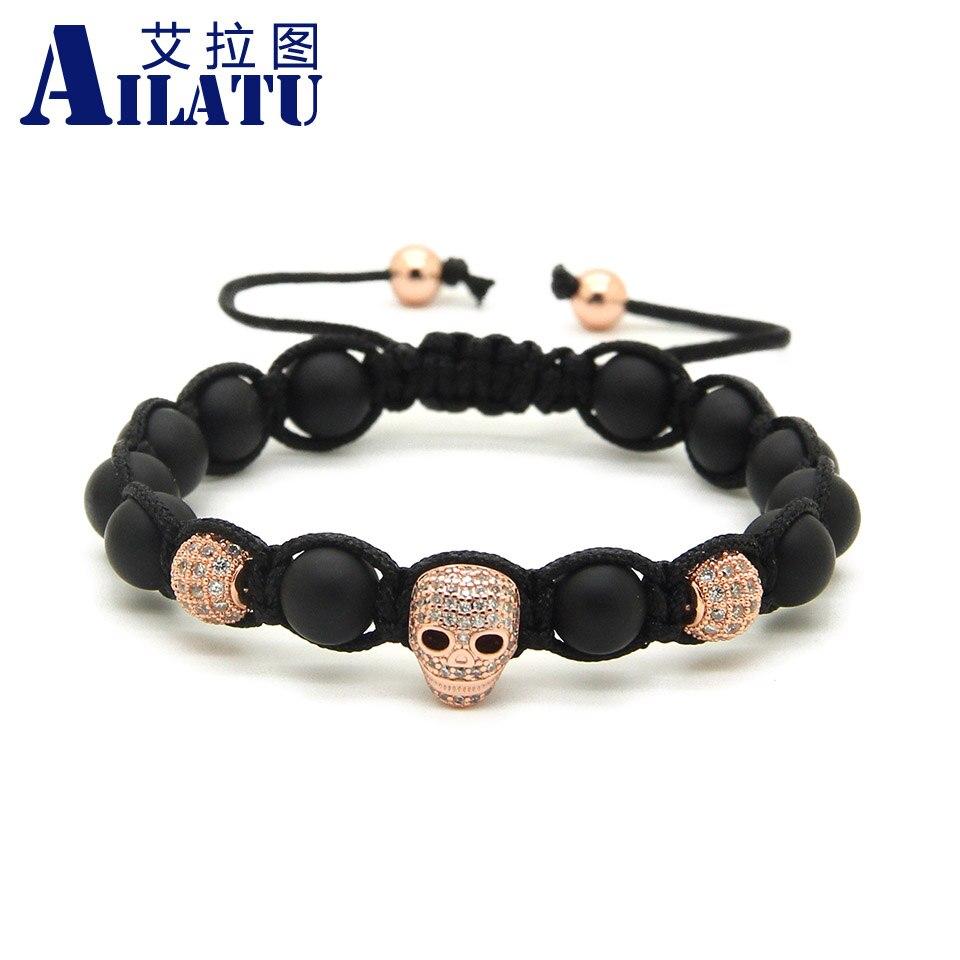 Ailatu 8mm Matte Stone Beads Clear Zircon Heart Skull Braided European American Style Tied Mens Bracelet Pulseira Hombres
