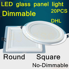 20PCS LED Square Panel Glass Dimmable 6W 12W 18W LED Downlight Cover Lights High Bright Ceiling Recessed Lamps AC85-265 + Driver