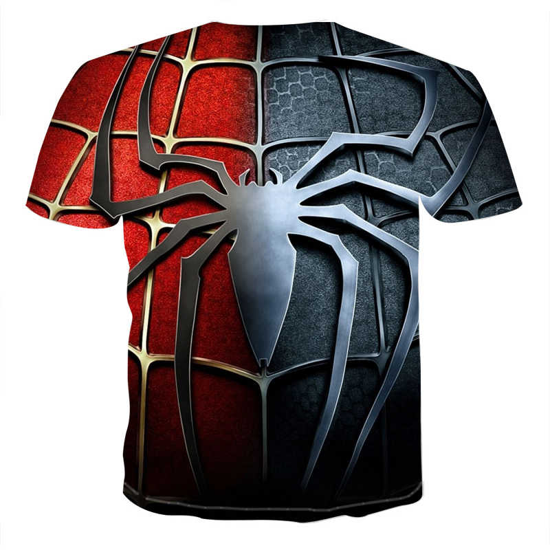 Лето 2019 Новая мужская 3D куртка человека-паука футболка мужская мода хип-хоп уличное платье Футболка мужская брендовая короткий топ