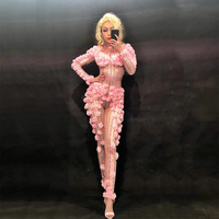 Sexy Dj Pink Flower Crystals Bodysuit Costume One piece Evening Jumpsuit Celebrate Party Wear Singer Stage Performance Clothing