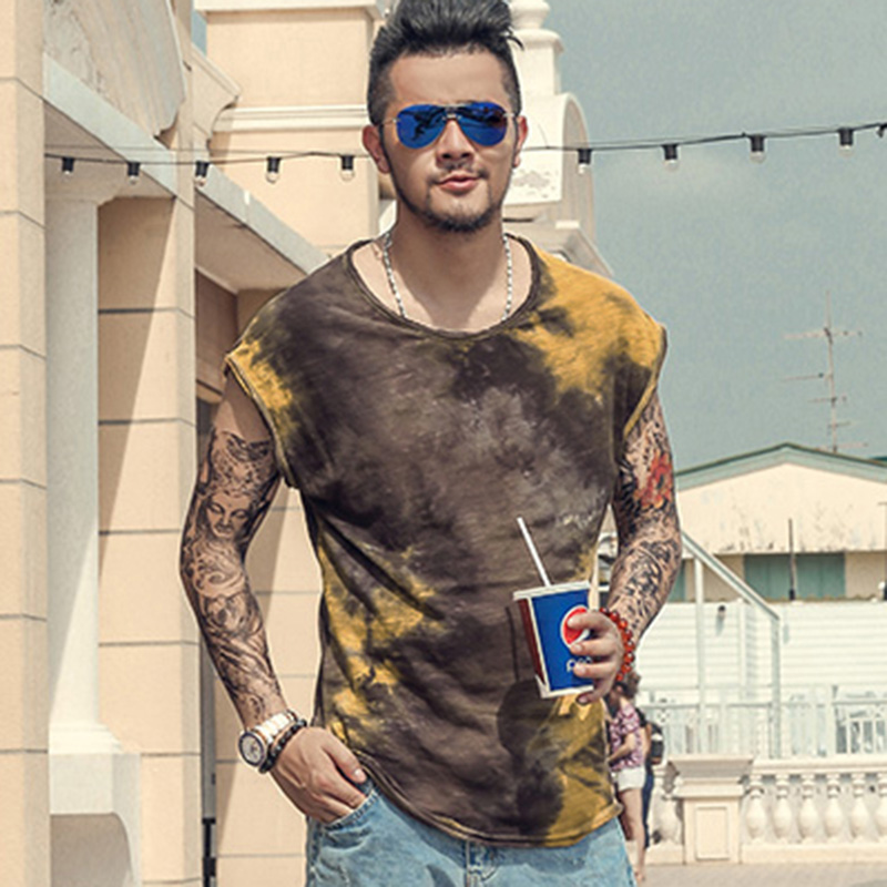 Men undershirts new summer tie dye retro sleeveless cotton burr Metrosexual men street  wide shoulder casual tank tops