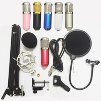 BM800 Condenser Microphone Kit Studio Broadcasting Recording Microphone Set with Shock Mount NB35 Stand Holder Mic Pop Filter