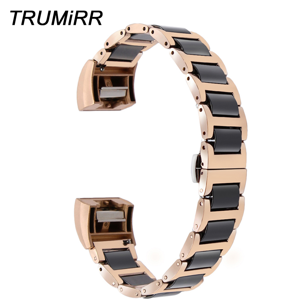 Ceramic + Stainless Steel Watchband for Fitbit Charge 2 Smart Watch Band Butterfly Buckle Wrist Bracelet Black Rose Gold Silver