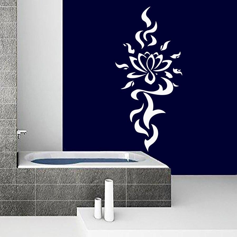 ZOOYOO Haute Qualité Blanc Lotus Stickers Muraux DIY Décoration En Vinyle Amovible Art Mural Stickers Muraux Pour Salle De Bains