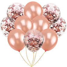 10pcs Mix Rose Gold Confetti Latex Balloons Metallic 12 Inches Party For Baby Shower Bridal Wedding Decorations