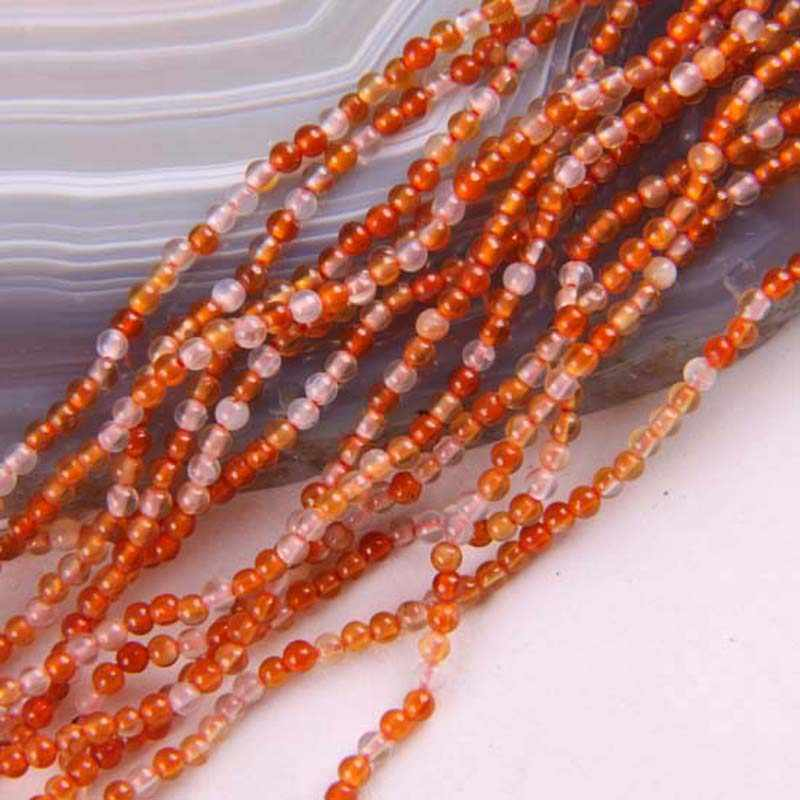 2MM Red Carnelian Round Loose Beads Strand 16 Inch Jewelry For Gift Making D079