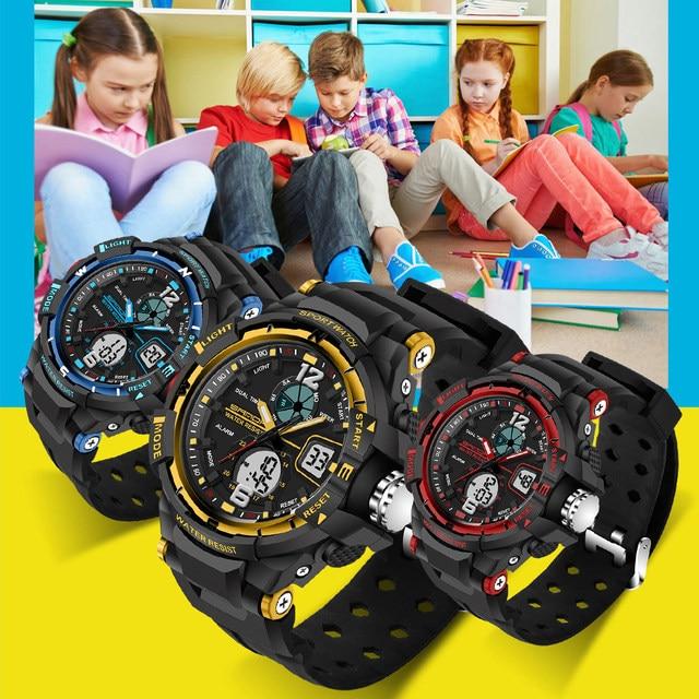 SANDA Waterproof Student Children Sport Quartz Watch Led Digital Girl Boy Lover Fashion Army Military Wristwatches With Gift Box