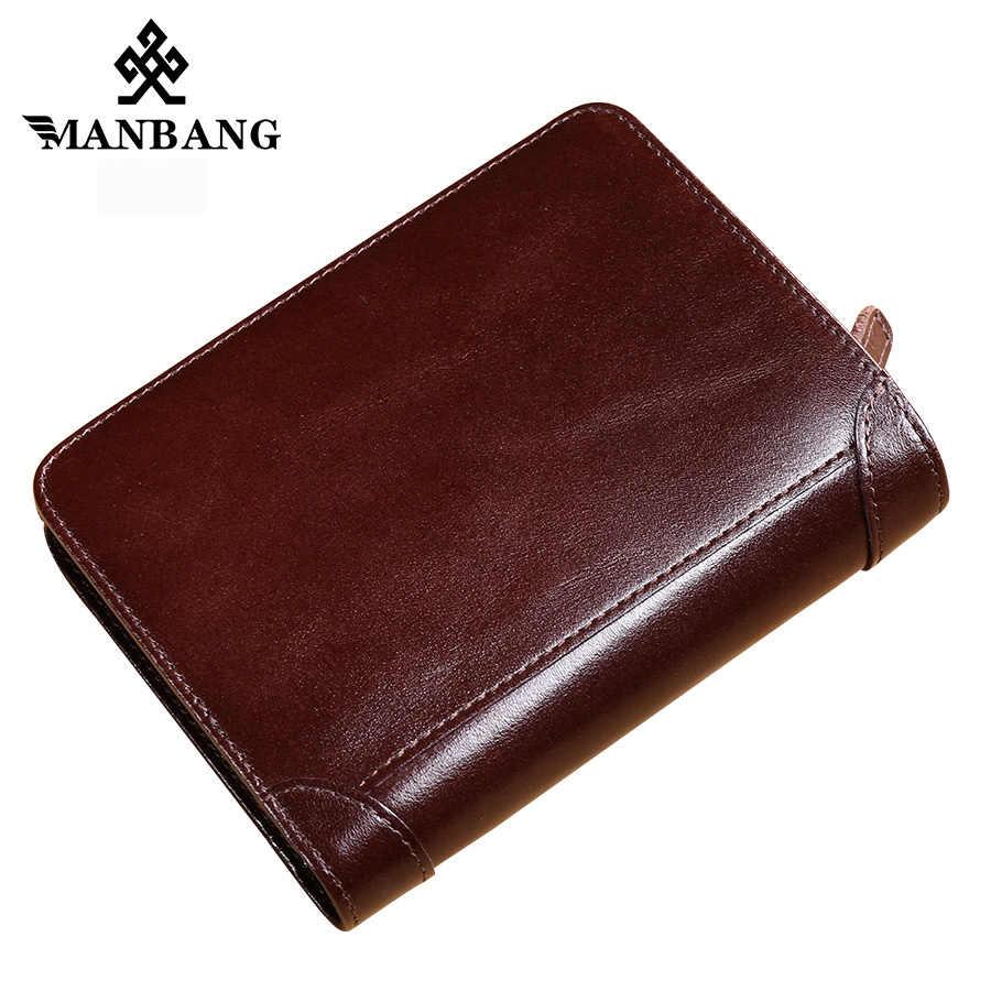 ManBang New Hot Alta Qualidade da Carteira de Couro Genuíno Dos Homens Carteiras Moda Organizador Purse Billfold Zipper Moeda do Bolso de presente dos homens