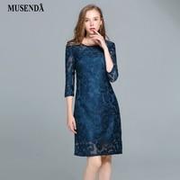 MUSENDA Mujeres de Talla grande Azul Ahueca Hacia Fuera el Vestido de Encaje 2017 Otoño Delgada Túnica de Manga Tres Cuartos Vestido de Señora de la Oficina vestidos