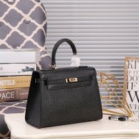 2019 new women's bag Kelly small square bag leather shoulder bag messenger bag leather 002
