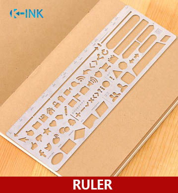 Hollow-out Metal Stencil Ruler For DIY Scrapbooking , Portable Stainless Steel Ruler For Kids Drawing , Daily Marking