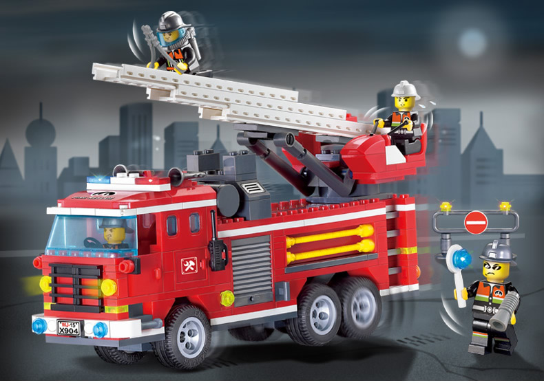 Stacking Blocks Enlighten Building Block Fire Rescue Three Bridge Fire Engines 4 Fireman 364pcs Educational Bricks Toy Boy Gift-no Box Demand Exceeding Supply