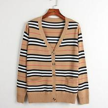 Британский Стиль Классический свитер женский короткий абзац дикий полосатый СВОБОДНЫЙ Модный кардиган женский свитер куртки для беременных
