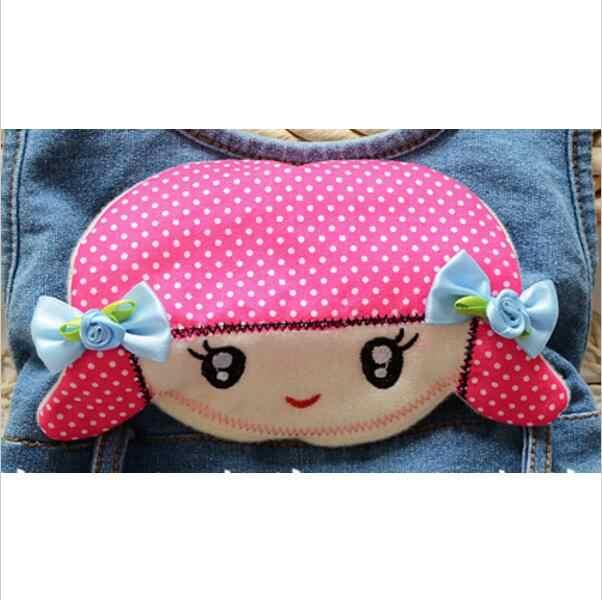 Ücretsiz kargo çocuk pantolon Bebek kız sevimli karikatür kovboy askı pantolon kot pantolon çocuk giyim 2016 Ilkbahar/Sonbahar