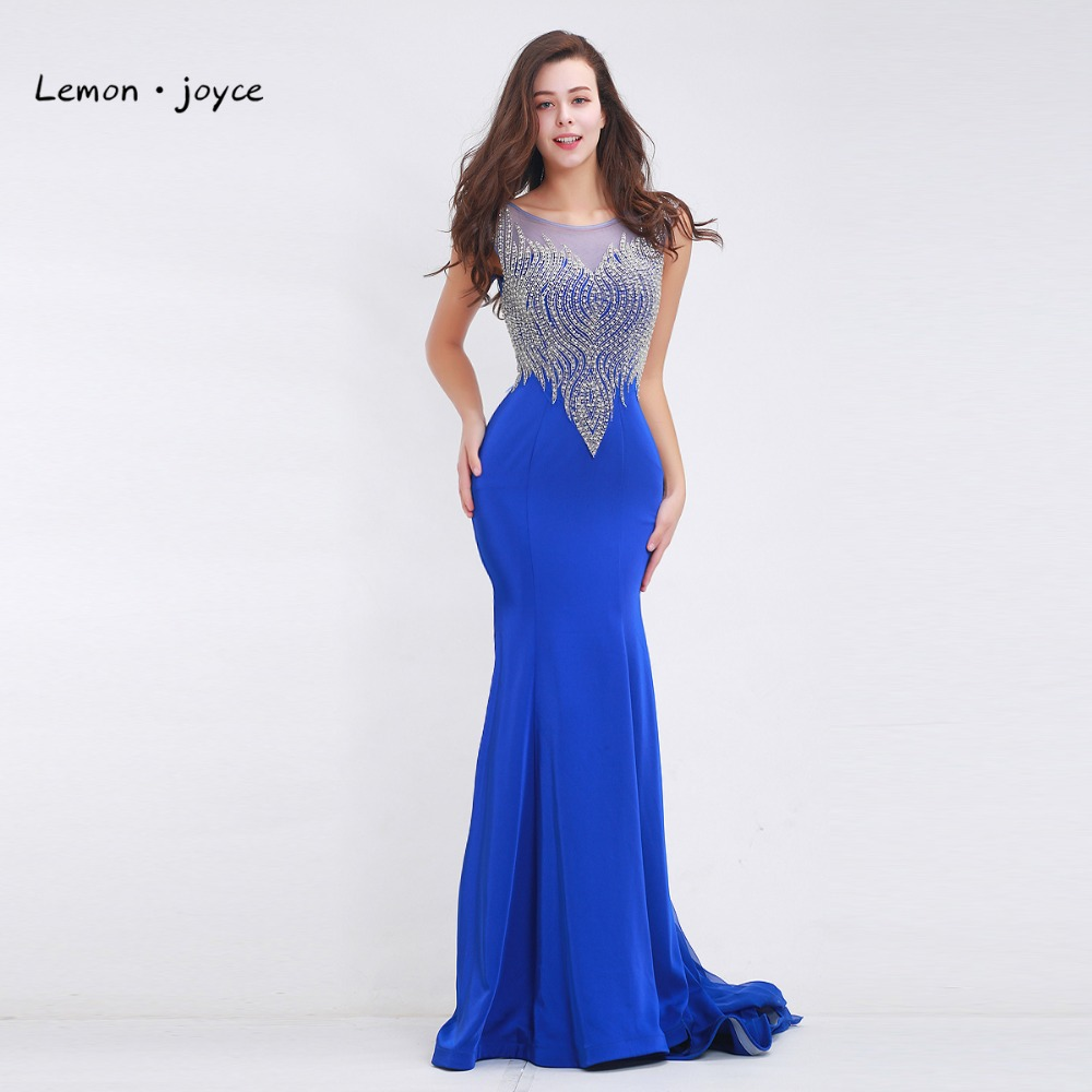 Elegant Beading Evening Dresses Long 2019 Scoop Neck Sleeveless Sexy See through Floor Length Party Gowns