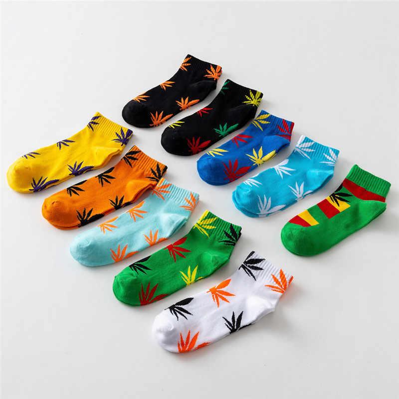 Новый сезон: весна–лето хлопка Harajuku скейтборд хип-хоп кленовый лист носки лодочной улице носки для мужчин/женщин Забавный короткие носки 1 пара