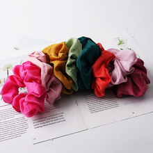 2019 New Women Lovely Silk Satin Scrunchies Hair Gum Hairbands Bright Color Hair Tie Stretch Ponytail Holders Hair Accessories(China)