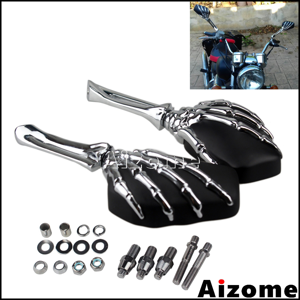 Universal Motorcycle Skeleton Hand Claw Rearview Side Mirrors For Softail Sportster Shadow Intruder Boulevard V Star
