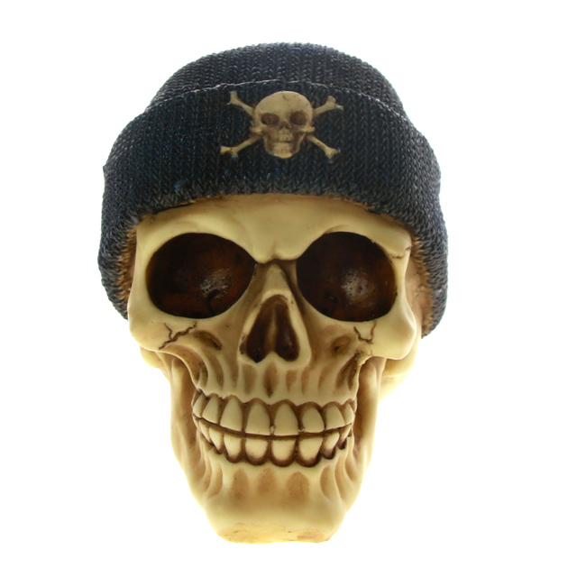 714f57c2bf3 Punk Gangster Skull Head with Knit Beanie Hat Fashion Horror Skull Figurine  Statue Halloween Skeleton Goth Pagan Punk Poly Resin