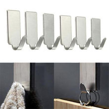 DIVV 6Pcs Hooks Self Adhesive Home Kitchen Wall Door Stainless Steel Holder Hook Hanger Hooks For Hanging Dropshipping M925(China)