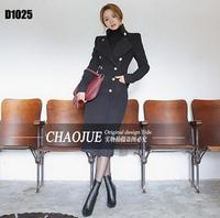S 4XL 2018 Super long cashmere coat Women's uniform wind British style Woolen coat slim black trench coat women's overcoat