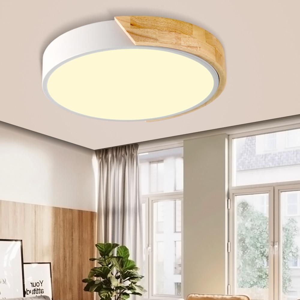 Nordic Wood Led Ceiling Light Lamp Living Room Lighting Fixture Bedroom Kitchen Surface Mount Ceiling Lights Round Base Ceiling
