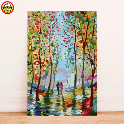 Painted by Digital DIY Painting Modern Wall Art Drawing Acrylic Painted in Home Wall Decoration Unique Gifts Parent-Child Painti