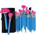 New Professional 32 Pcs maquiagem escova Kit Foundation pó Make up Brushes beleza Facial cosméticos + bolsa rosa azul