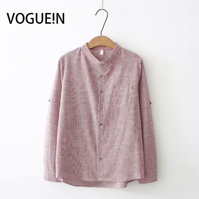 VOGUEIN New Womens Stand Collar Striped Print Long Sleeve   Blouse     Shirt   Tops Wholesale